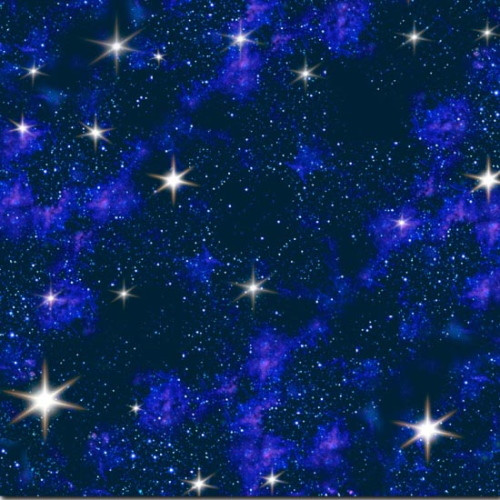 Stars in Space on Black Fabric - 1299Blue
