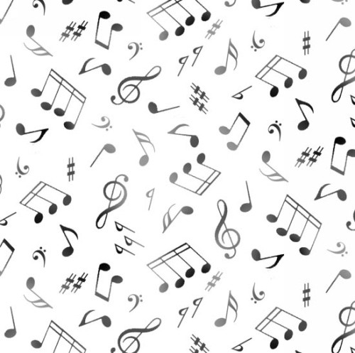 Gray and Black Music Notes on White Fabric - 148White