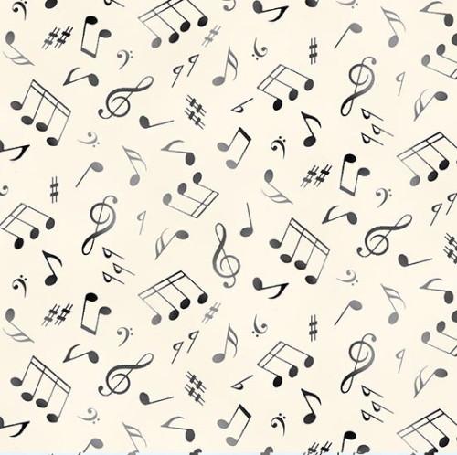 Gray and Black Music Notes on Cream Fabric - 148Cream