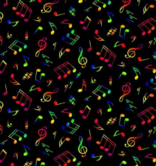 Neon Colors Music Notes on Black Fabric - 295Multi