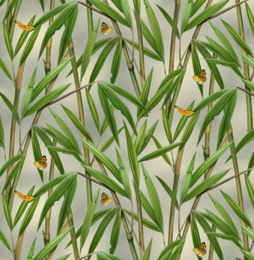 Bamboo on a Neutral Background Fabric - 1330Green