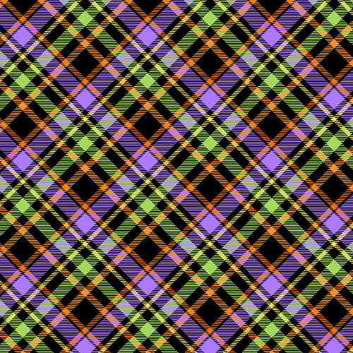 Multi Color Plaid on Bias Glow in the Dark Fabric - 9604-96 - Glow Ghosts - Henry Glass & Co.