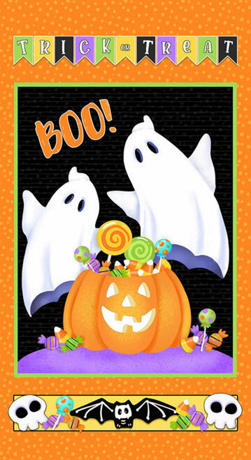 """24"""" Ghost and Pumpkins Glow in the Dark Fabric Panel - 9609PG-39"""