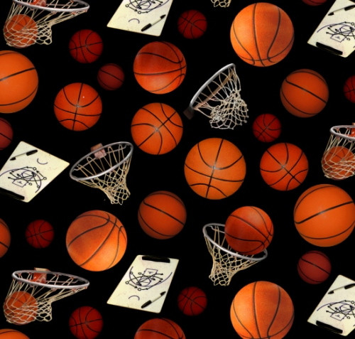 Basketballs, Hoops and Clipboards on Black Fabric - 132Black