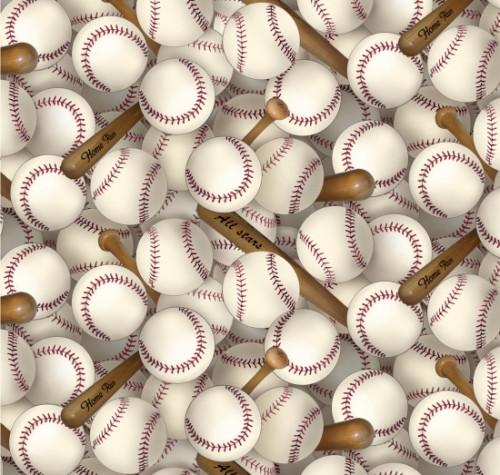 Packed Baseballs and Bats Fabric - 112White