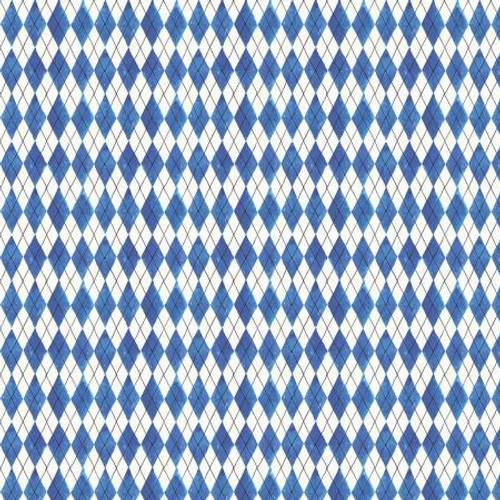 Blue & White Diamonds Fabric - FRUS04367-B