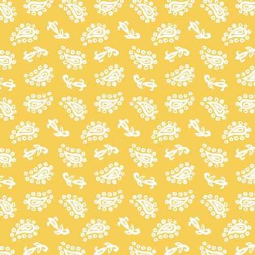 White on Yellow Paisley Fabric - FRUS04368-Y