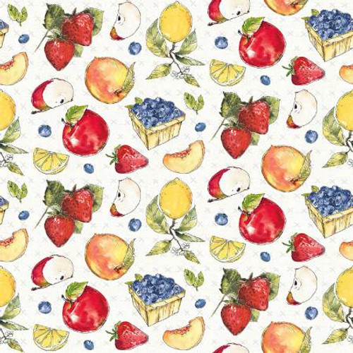Assorted Fruit Allover Pattern on White Fabric - FRUS04364-MU