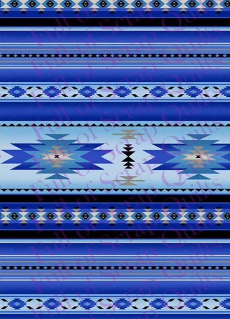 Blue Southwest Stripe Fabric - 201Blue