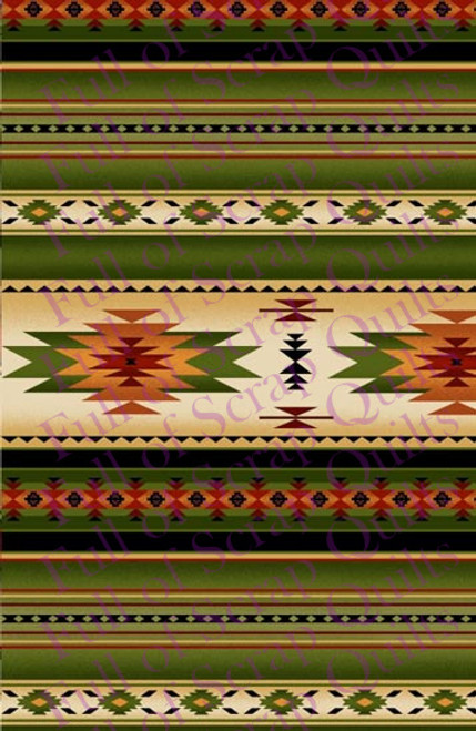 Green and Tan Southwest Stripe Fabric - 201Green