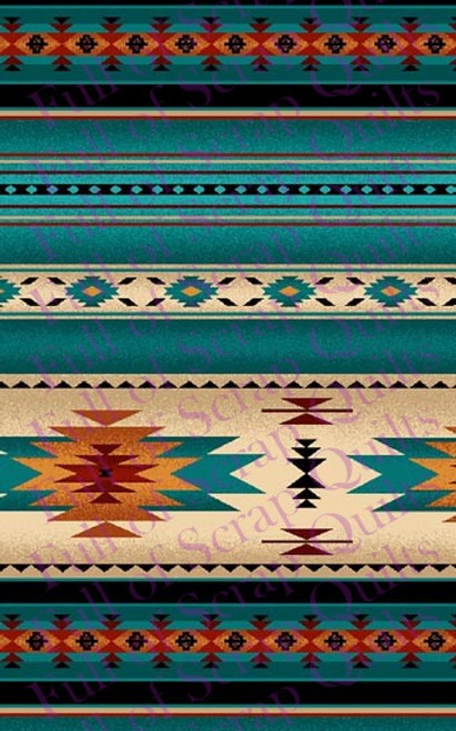 Turquoise and Tan Southwest Stripe Fabric - 201Turquoise