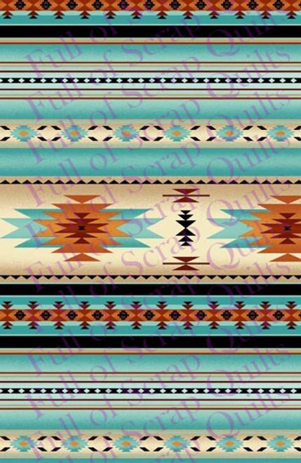 Light Turquoise Southwest Stripe Fabric - 201Lightturquoise
