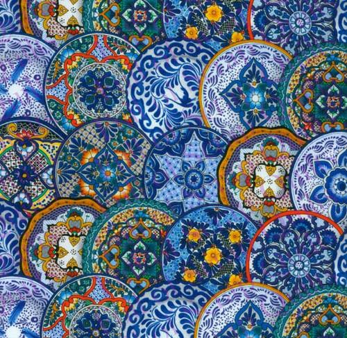 Blue Fiesta Medallions Fabric - 109Blue