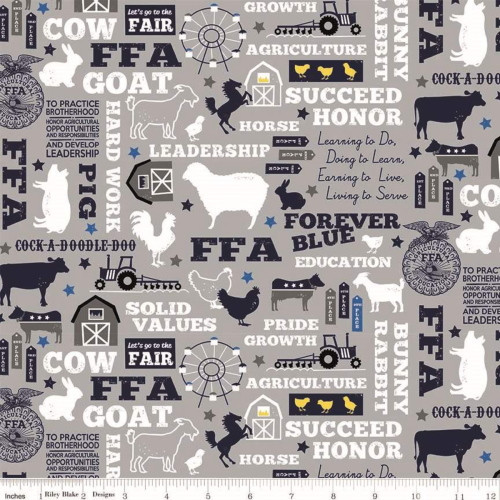 FFA Mottos, Words and Pictures on Gray Fabric - C7210 Gray