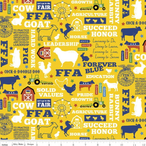 FFA Mottos, Words and Pictures on Gold Fabric - C7210 Gold
