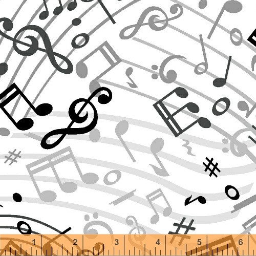 """Tossed Music Notes on White 108"""" Wide Backing - 51460-1"""
