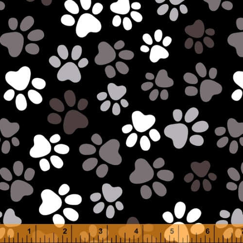"""Gray and White Paw Prints on Black 108"""" Wide Backing - 52476-1"""