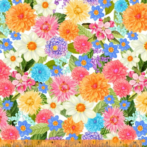 """Multi-Colored Packed Flowers on White 108"""" Wide Backing - 52473D-X"""