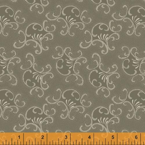 Olive Filigree Design Fabric - 52077-2