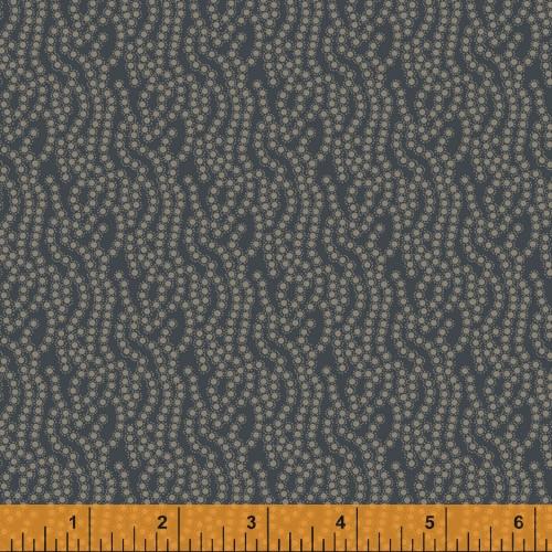 Navy Blue Rippled Dots Design Fabric - 52078-3