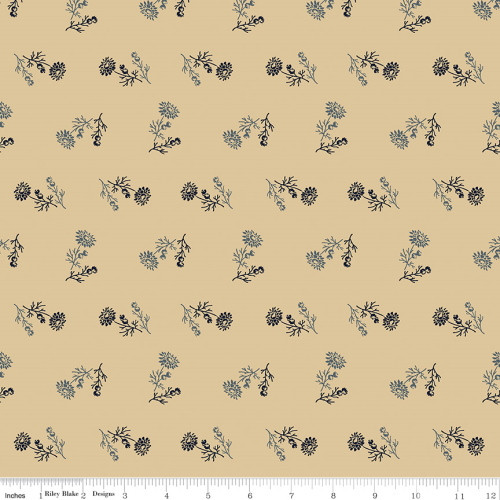 Blue Floral Bunches on Tan Fabric - C10365 Tan