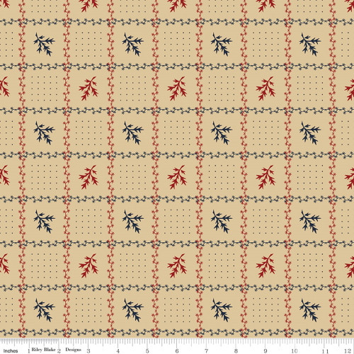 Red and Blue Floral Grid on Tan Fabric - C10366 Tan