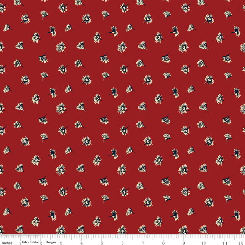 Cream and Blue Asters on Red Fabric - C10367 Red