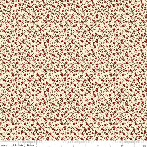 Red and Brown Flowers on Cream Fabric - C10368 Cream