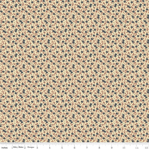 Blue and Red Flowers on Cream Fabric - C10368 Blue