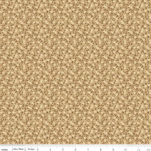 Cream and Brown Flowers on Tan Fabric - C10368 Tan