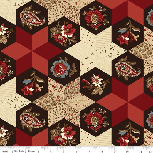Red Patchwork and Hexi Fabric - C10369 Red