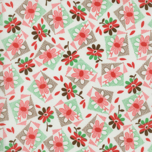 RED, GREEN & BROWN CROSS HATCH FLORAL ON WHITE