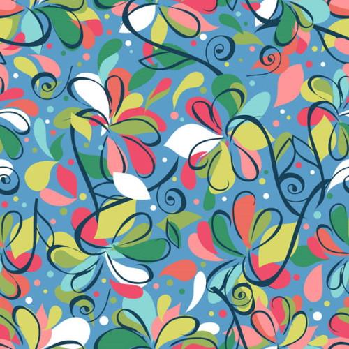 Swirlygig Swirl Flowers - Blue Fabric - RIV-SG-2250-7