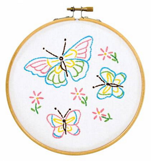 Butterflies Ready, Set, Sew! 6in Embroidery Hoop Kit - 4096-143