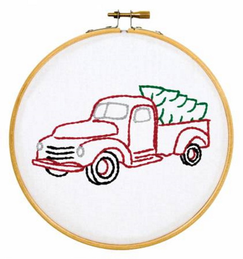 Christmas Truck Ready, Set, Sew! 6in Embroidery Hoop Kit - 4096-879