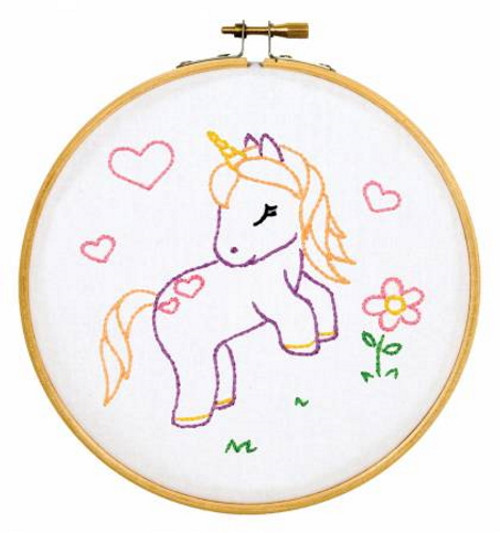 Baby Unicorn Ready, Set, Sew! 6in Embroidery Hoop Kit - 4096-929
