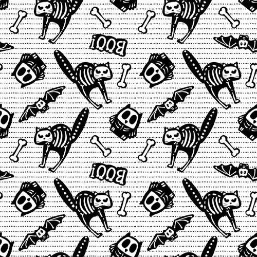 Tossed Bones of Motifs on White Fabric - 9606G-9