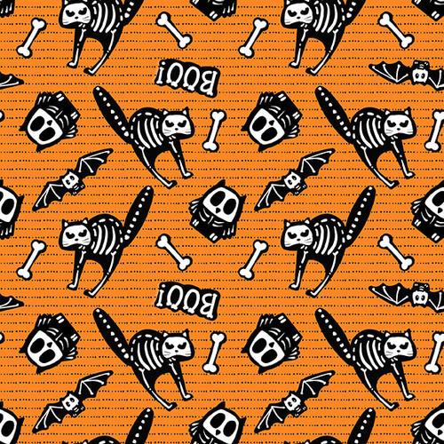 Tossed Bones of Motifs on Orange Fabric - 9606G-33