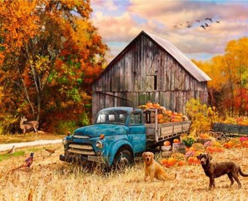 "Fall Blue Farm Truck Fabric Panel - Approx. 34"" x 44"" - GG-0040-0C-1 Multi"