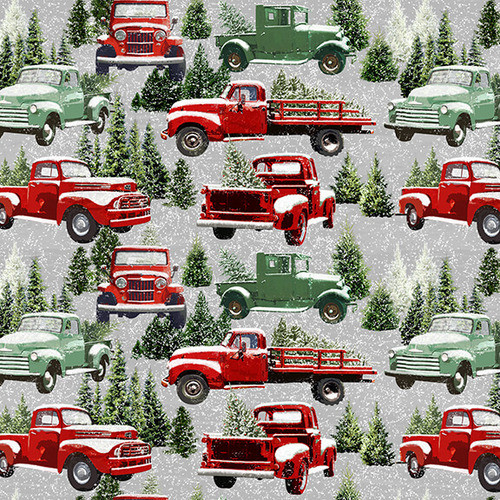 Packed Allover Red and Green Trucks in Snow Fabric - 9101-98