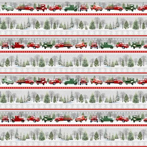 Novelty Border Stripe Red and Green Trucks Fabric - 9100-98