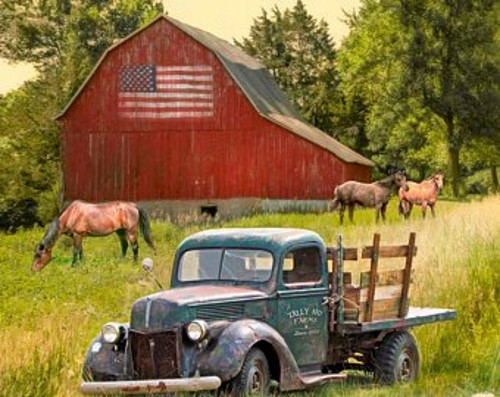 """Truck and Barn Fabric Panel - Approx. 35.5"""" x 44"""" - GG-0054-0C-1 Multi"""
