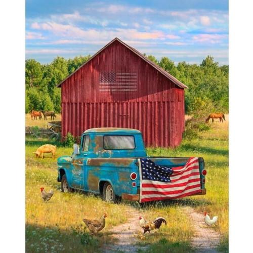 "Summer Truck Fabric Panel - Approx. 35.5"" x 44"" - GG-0039-0C-1 Multi"