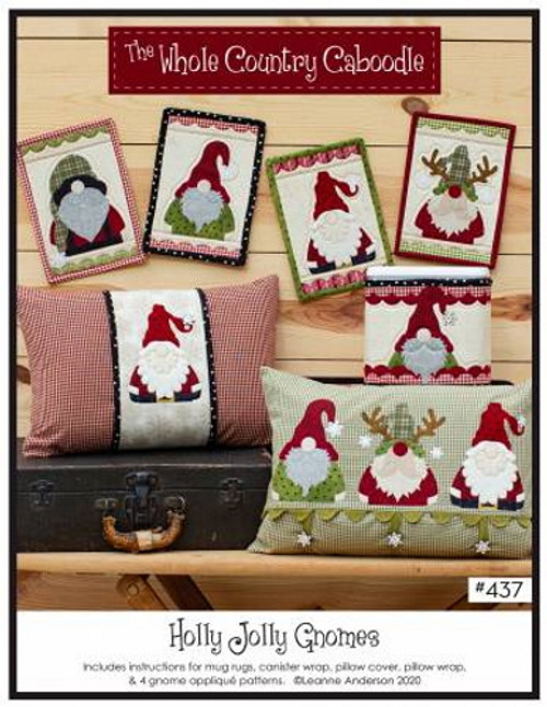 Holly Jolly Gnomes Pattern - 4 Gnome Applique Patterns - WCC437