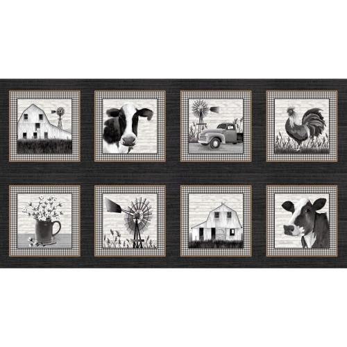 "9 inch Farmstead Blocks Panel - 24"" Panel - 8 Scenes - 5330-99"