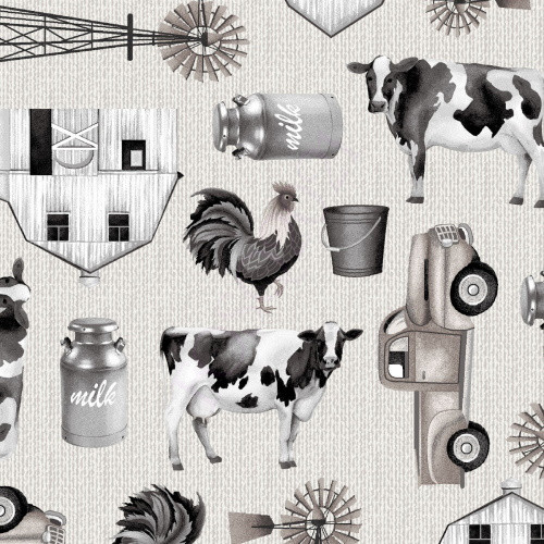Tossed Black and White Farm Items Fabric - 5319-39