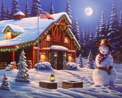 "Cowboy Christmas Digital Panel - Approx. 35.5"" x 44"" - AL58810C1"