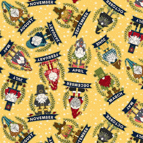 Tossed Allover Monthly Gnomes on Yellow Fabric - 9615-33 Yellow