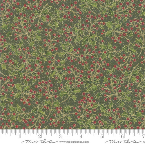 Holly Berries and Metallic Leaves on Pine Green Fabric - 33514-13M