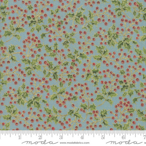 Holly Berries and Metallic Leaves on Blue Fabric - 33514-16M